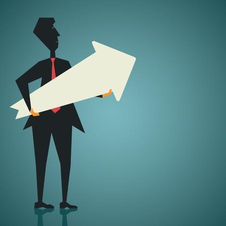 man confused: businessmen with  big arrow
