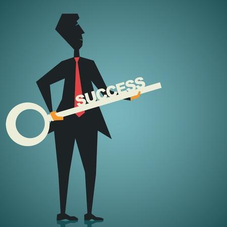 investment solutions: empresarios la mano grande �xito stock vector clave