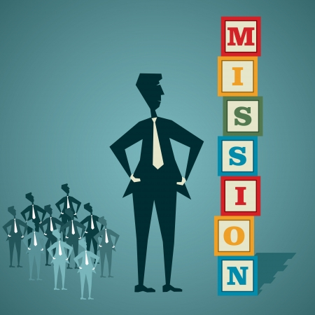 mission word block with businessmen and his team stock vector