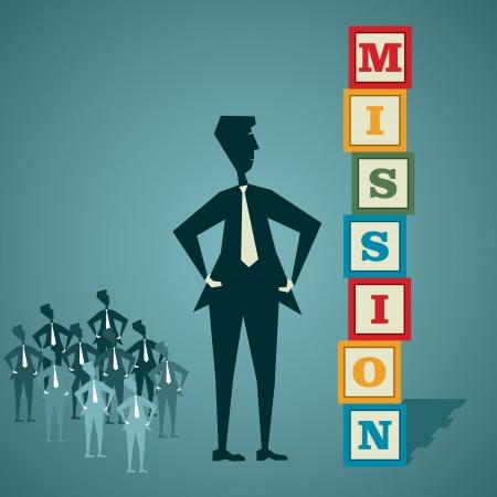 Mission Wortblock mit Geschäftsleuten und sein Team stock vector Illustration