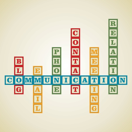 cost basis: communication and related word block stock vector Illustration