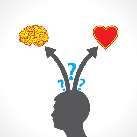 choose a path: men confuse between  brain and heart stock vector