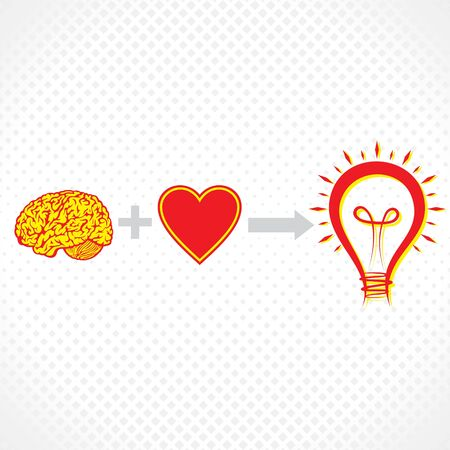 addition of brain and heart create new idea stock vector Vector