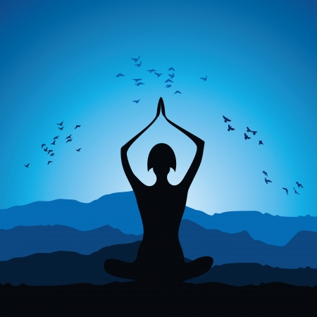 Yoga women figure stock vector Vector