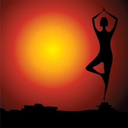 Yoga women figure stock vector Vector