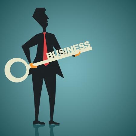 big business key in businessmen hand stock vector Stock Vector - 19623044