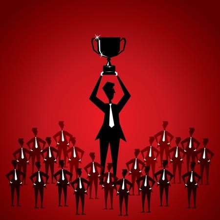winning stock: winning celebration by team stock vector