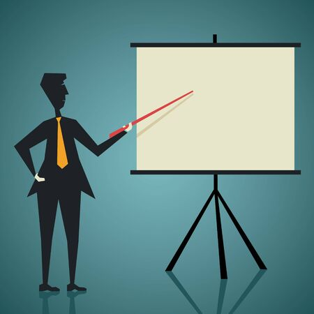 sales meeting: men teach or giving presentation stock vector