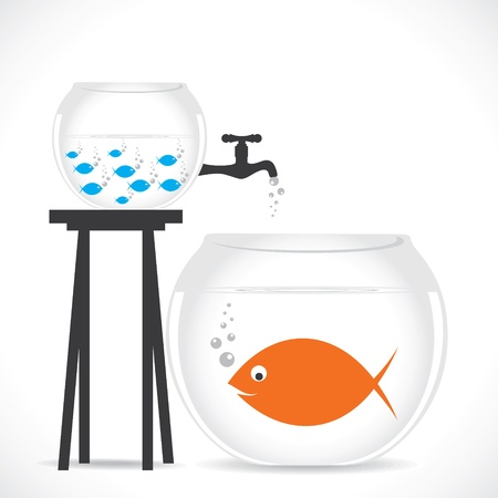 big and small: group of small fish in small pot and one big fish in big pot