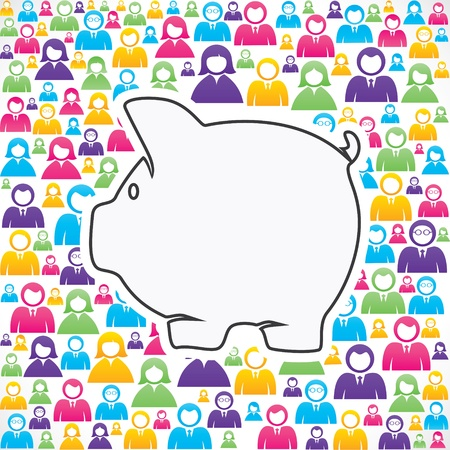 human source: piggy bank with in group of people stock
