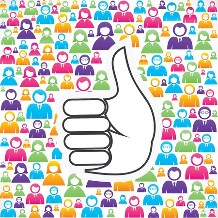 crowd source: like symbol with in group of people stock Illustration