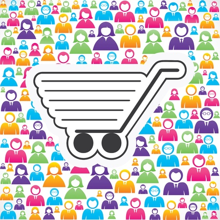 crowd source: shopping cart icon with in group of people stock