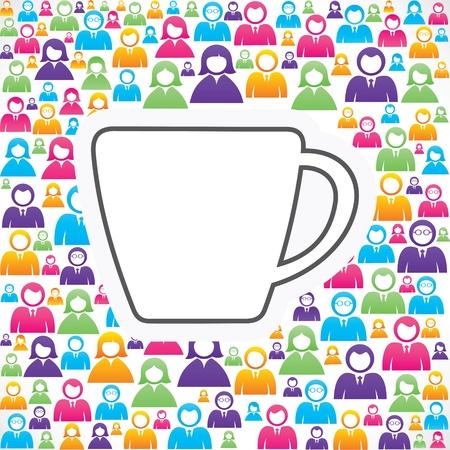 人々 の株式のグループとアイコンをマグカップ