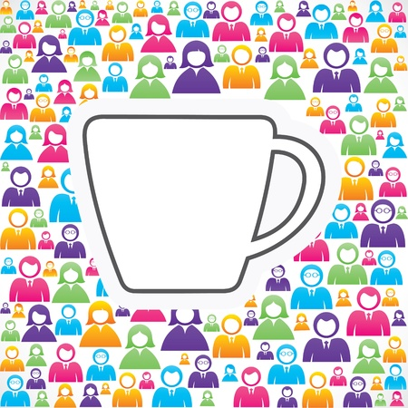 coffee meeting: Mug icon with in group of people stock Illustration