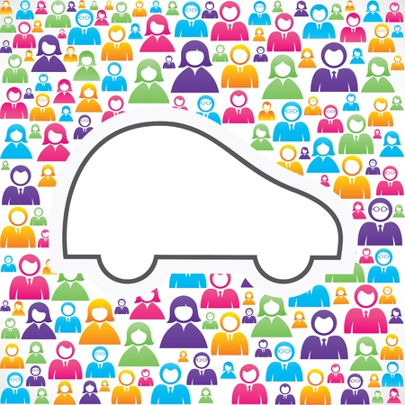 human source: Car icon with in group of people stock