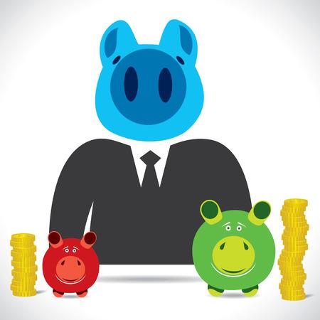 piggy businessmen with saving stock vector Vector