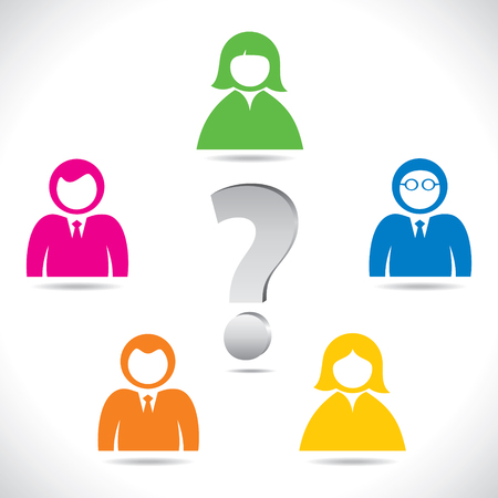 color people confuse about problem stock vector Vector