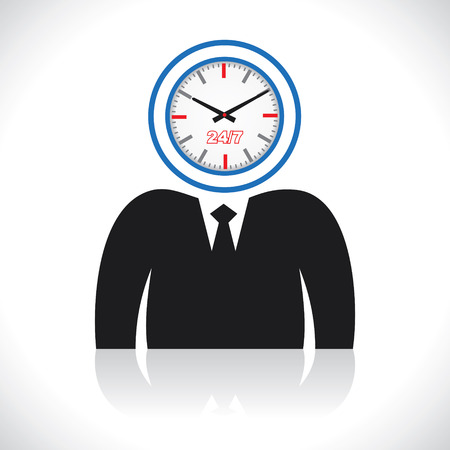 elapsed: clock men head stock vector