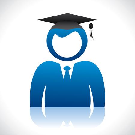 diplom studen: blau Student mit Pass-out Kappe Stock Vektor-