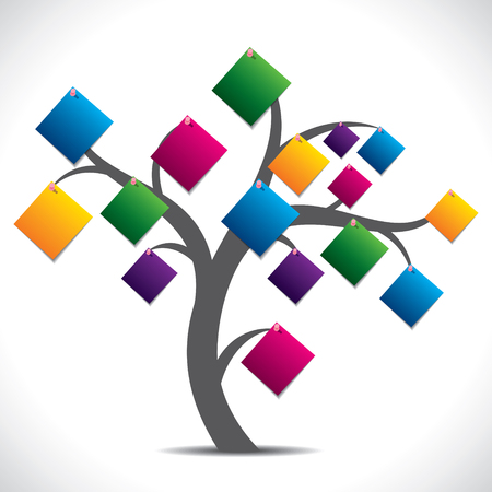 digital composite: color paper note tree stock vector