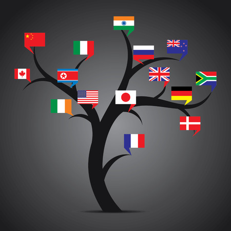 world country flag tree stock vector Vector
