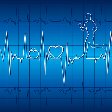 pulse trace: heart beat graph with running men in blue background stock vector Illustration