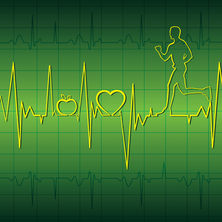 heart ecg trace: heart beat graph with running men in blue background stock vector Illustration