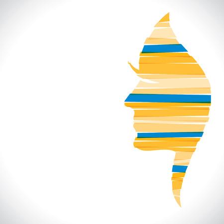 feminize: yellow women face design with strip stock vector Illustration
