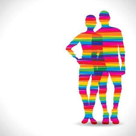 boy long hair: color couple design with strip stock vector