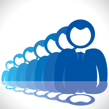meet up: blue businessmen in row stock vector