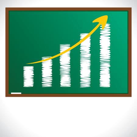 green board: market graph draw on green board stock vector
