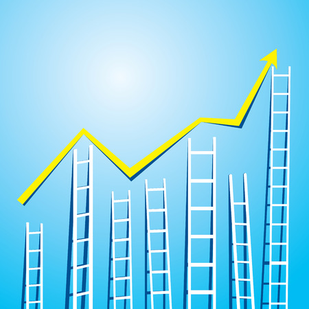 market graph design with stair up and down Vector