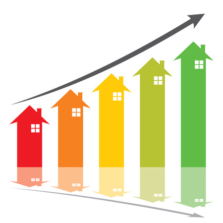 home value: color graph show home price increase stcok vector Illustration