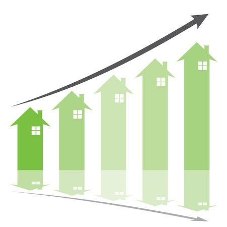 show home: green graph show home price increase stcok vector Illustration