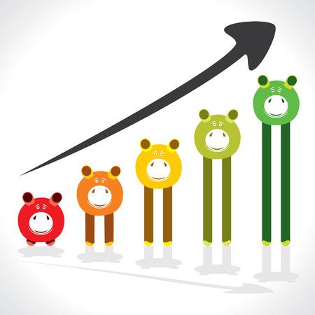 stock market crash: saving money graph shown by piggy stock vector