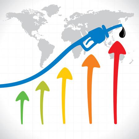 stock price: oil price hike graph  stock vector