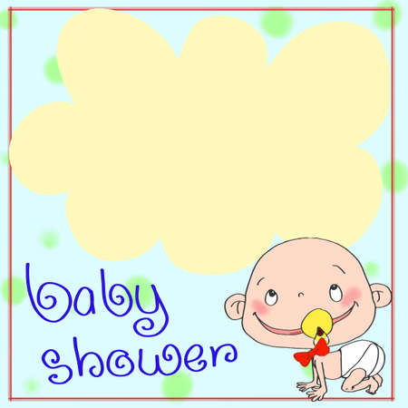 Male Baby Shower Card Template. Royalty Free Cliparts, Vectors