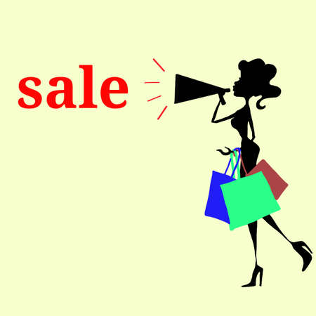 cyber woman: Woman shopping with sale text Illustration