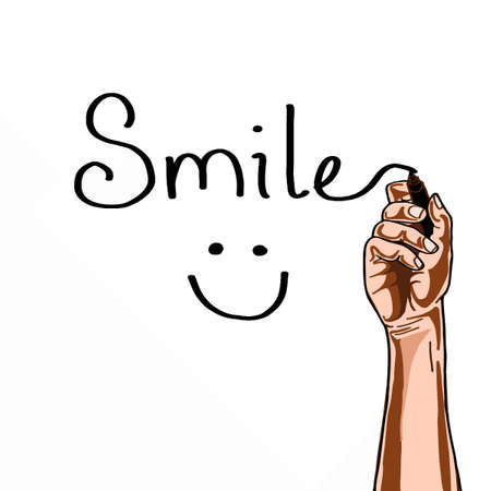 Handwriting with smile text