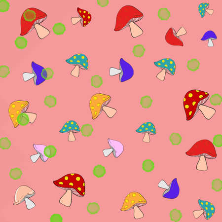 Different color of mushroom repetitive pattern in cartoon illustration.