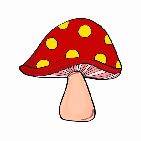 Mushroom in red with yellow dots in cartoon illustration
