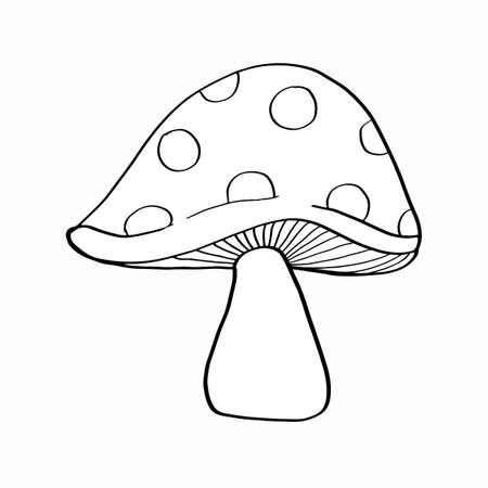 Mushroom outline, in black and white illustration for coloring page