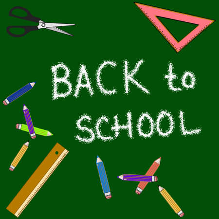 Ruler and square and pencils green background with back to school text Ilustração