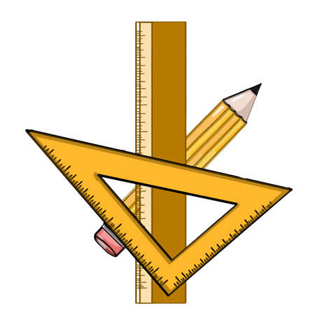 Ruler and square and pencil Illustration