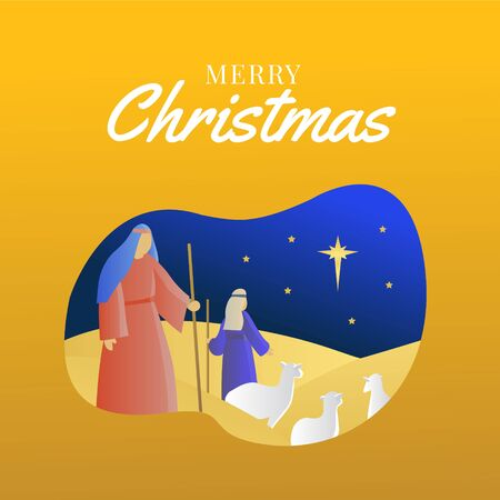 Shepherds looking at the star with yellow background