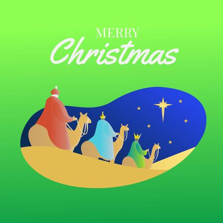 Three Wise Men riding camels follow the star in the night with green background