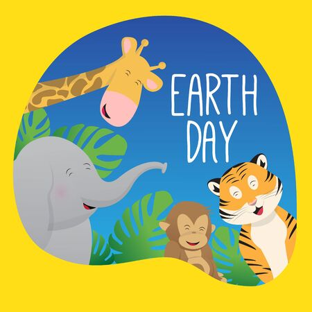 Earth day background with animal smile