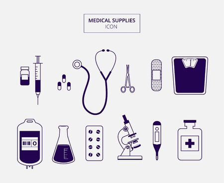 Medical supplies icon with blue color and white background