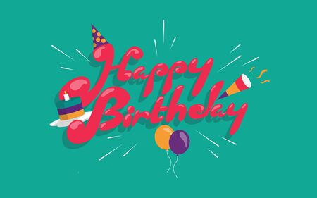 Birthday Card template with green background Ilustrace
