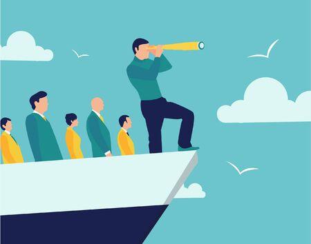 Leader führen Menschen hinter sich